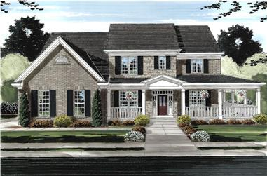 4-Bedroom, 3073 Sq Ft Traditional House Plan - 169-1145 - Front Exterior