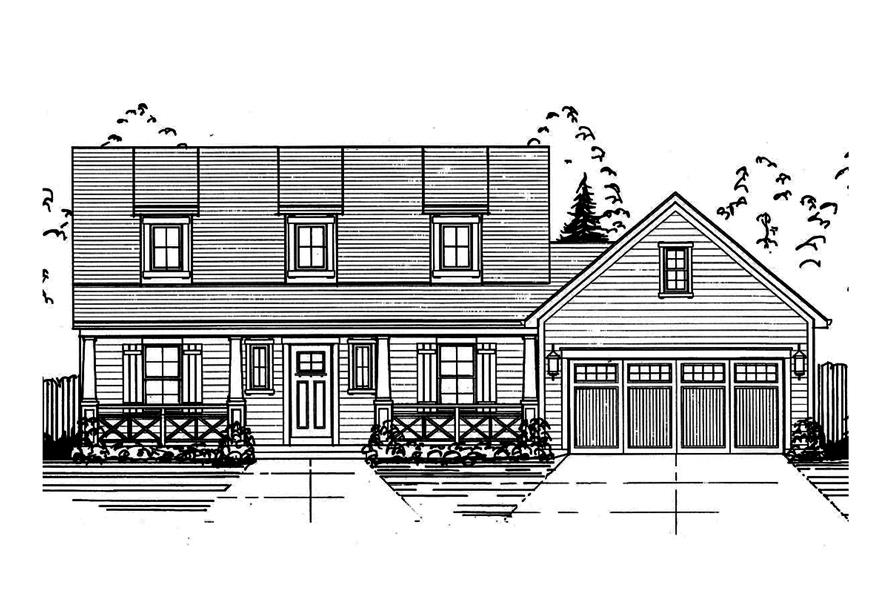 Home Plan Front Elevation of this 3-Bedroom,1664 Sq Ft Plan -169-1146