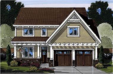 Front elevation of Craftsman home (ThePlanCollection: House Plan #169-1150)