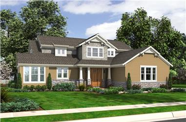 Front elevation of Craftsman home (ThePlanCollection: House Plan #169-1155)