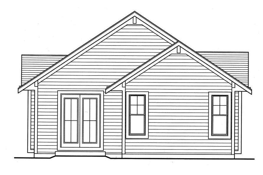 Home Plan Rear Elevation of this 3-Bedroom,1403 Sq Ft Plan -169-1160