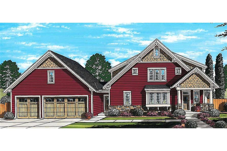 Front elevation of Craftsman home (ThePlanCollection: House Plan #169-1175)