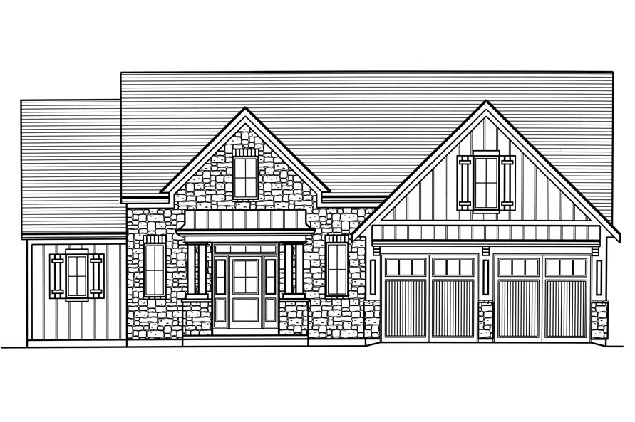 Home Plan Front Elevation of this 4-Bedroom,2052 Sq Ft Plan -169-1179