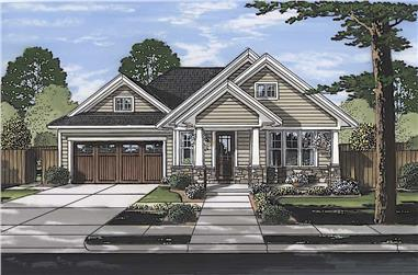 3-Bedroom, 1463 Sq Ft Craftsman House Plan - 169-1182 - Front Exterior