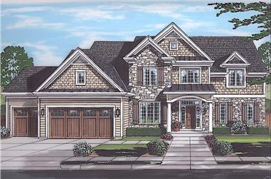 4-Bedroom, 3455 Sq Ft Luxury House - Plan #169-1189 - Front Exterior