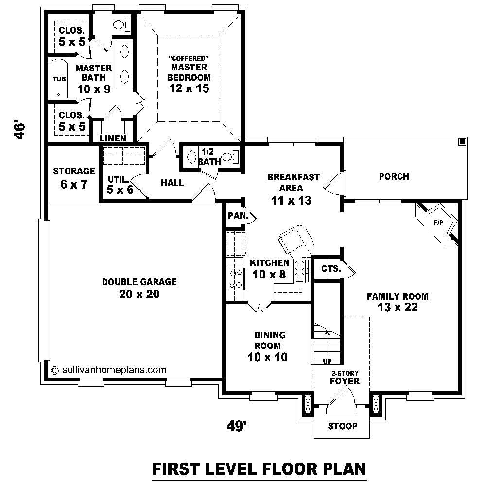 2 story house plans with upstairs balcony for Upstairs floor plans