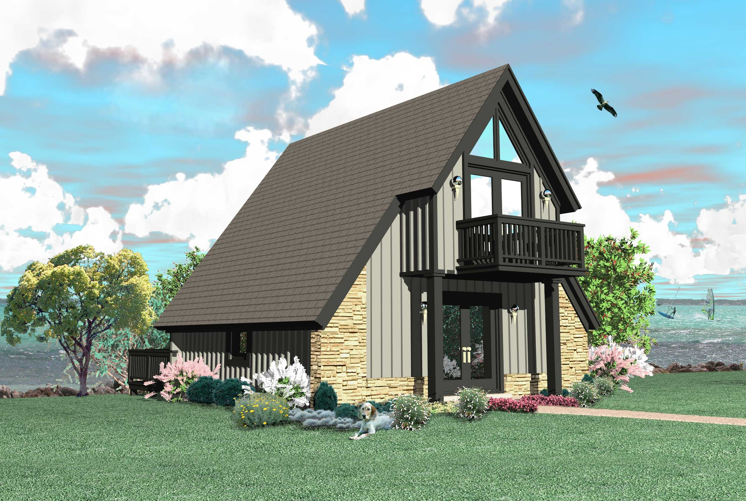 A frame house plan 0 bedrms 1 baths 734 sq ft 170 1100 for A frame house plans with attached garage