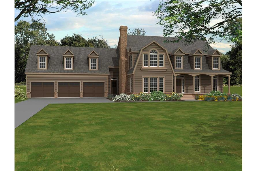 4-Bedroom, 4166 Sq Ft Country Home Plan - 170-1129 - Main Exterior