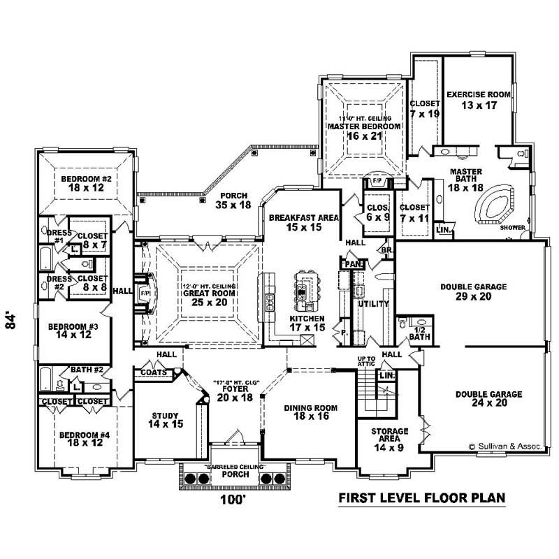 This image shows the living and dining areas of the house plan.