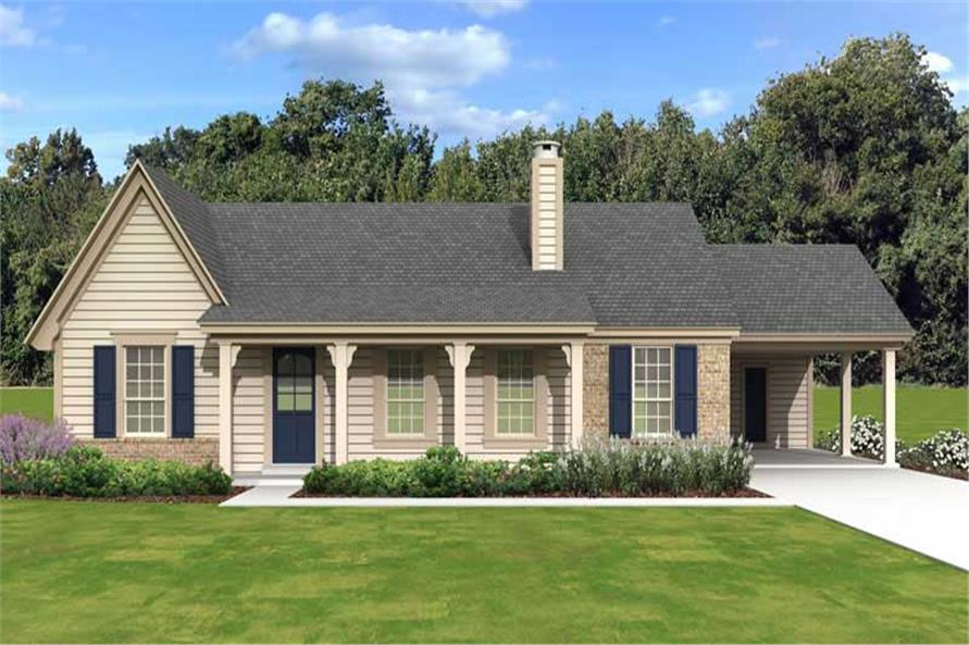 3-Bedroom, 1438 Sq Ft Country Home Plan - 170-1148 - Main Exterior