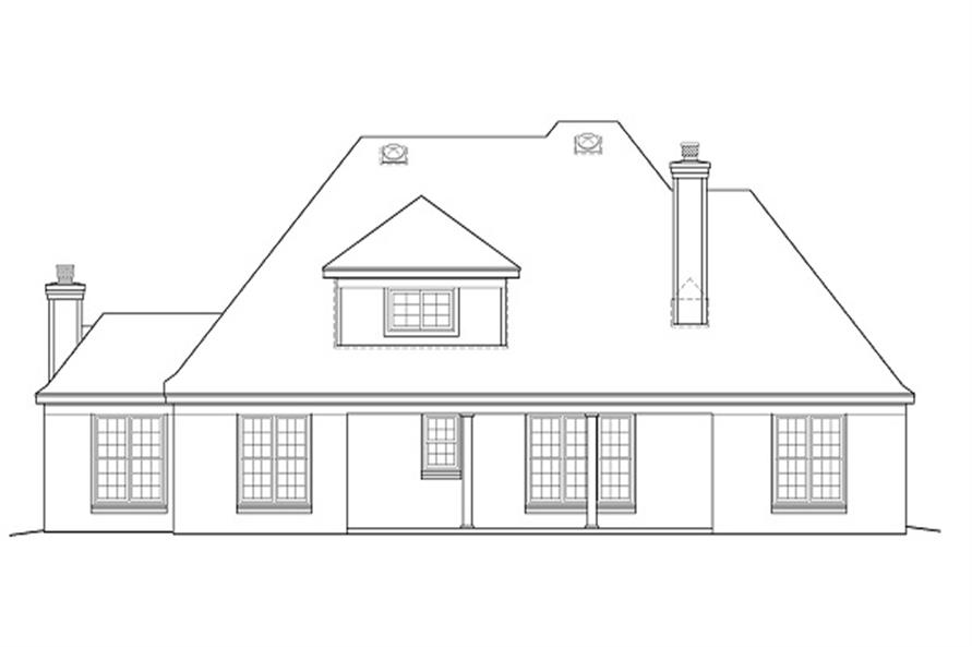 Home Plan Rear Elevation of this 3-Bedroom,3068 Sq Ft Plan -170-1185