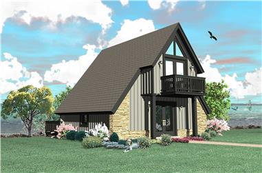 0-Bedroom, 734 Sq Ft A Frame House Plan - 170-1208 - Front Exterior