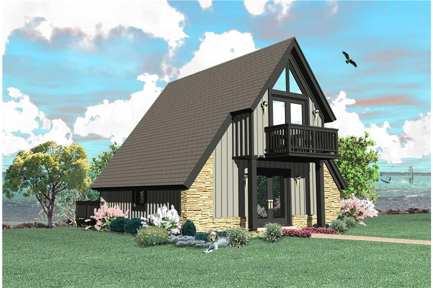 170 1208 color rendering of this house plan - A Frame House Plans
