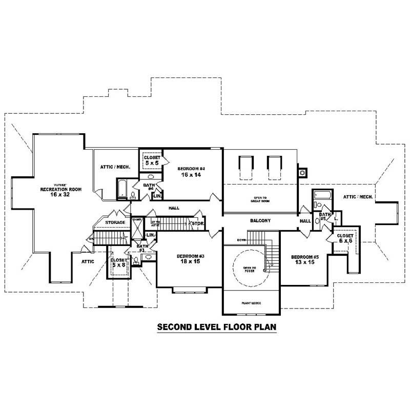 This image shows the living areas of the upper floor plan.