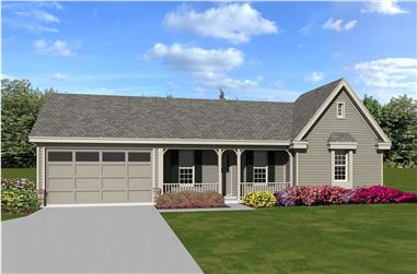 3-Bedroom, 1239 Sq Ft Country Home Plan - 170-1340 - Main Exterior