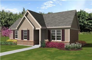 3-Bedroom, 1071 Sq Ft Small House Plans - 170-1341 - Main Exterior