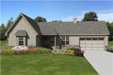 3-Bedroom, 1106 Sq Ft Country Home Plan - 170-1421 - Main Exterior