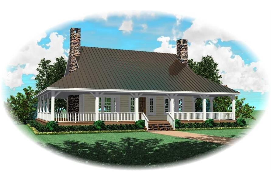 1-Bedroom, 1305 Sq Ft Country Home Plan - 170-1422 - Main Exterior