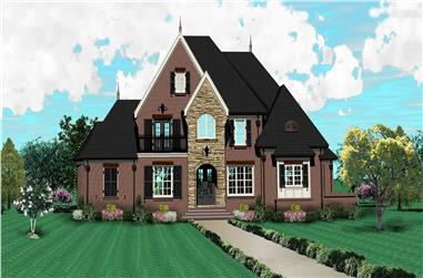4-Bedroom, 3880 Sq Ft Country House Plan - 170-1496 - Front Exterior