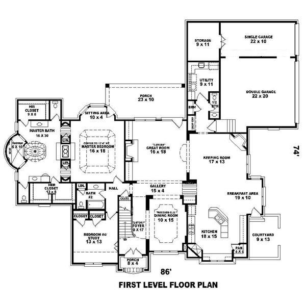 170-1496 house plan first floor