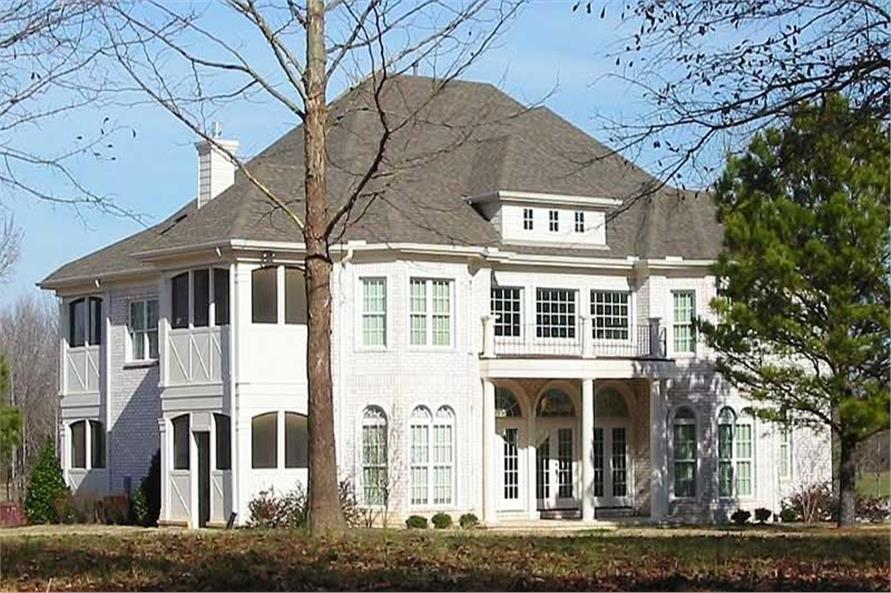 Front elevation of Luxury home (ThePlanCollection: House Plan #170-1592)