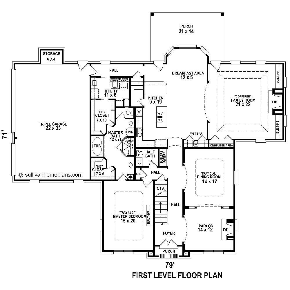 French traditional house plans home design b2639 1474 for Floor plan in french
