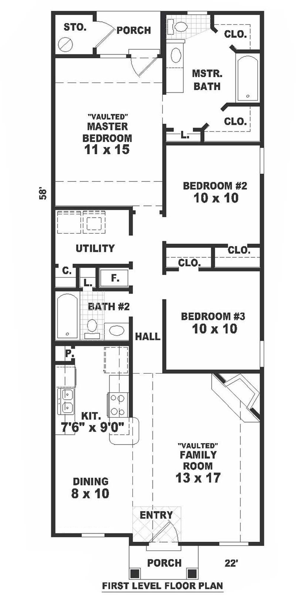 Small bungalow house plans home design b1120 77 f 7596 for Narrow home floor plans