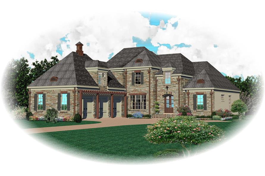 3-Bedroom, 3843 Sq Ft Country House Plan - 170-1704 - Front Exterior