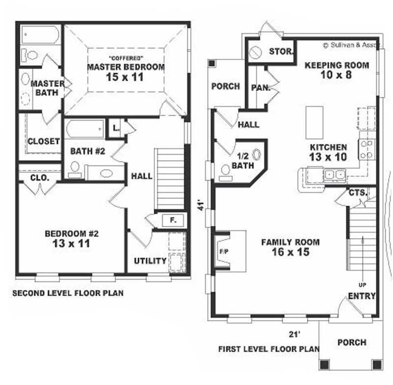 Small colonial european house plans home design b0667 for Small european house plans