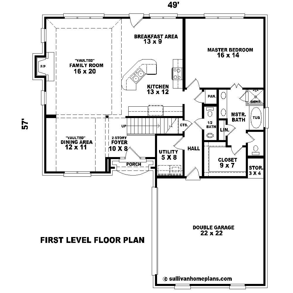 country house plan - 3 bedrms  2 5 baths