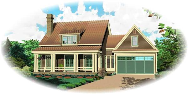 This is a computer rendering of these Craftsman House Plans.