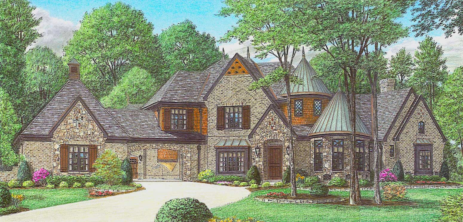 170 1863 color rendering of this house plan - French Country House Plans With Porte Cochere