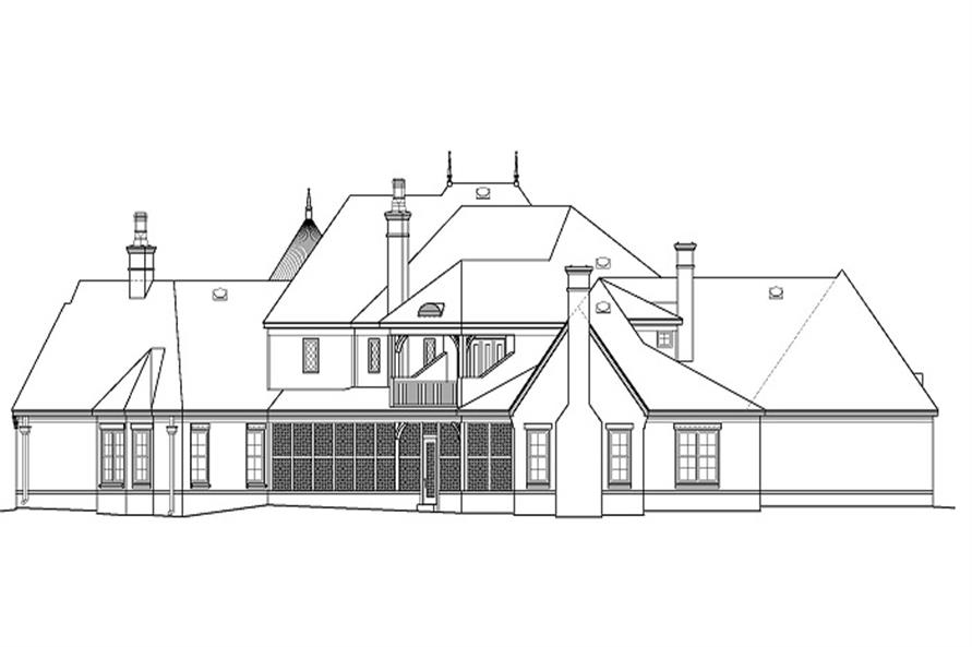 Home Plan Rear Elevation of this 4-Bedroom,5860 Sq Ft Plan -170-1863