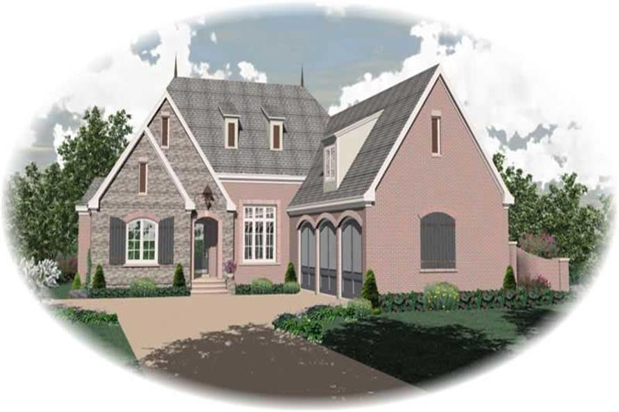 3-Bedroom, 3666 Sq Ft French Home Plan - 170-1910 - Main Exterior