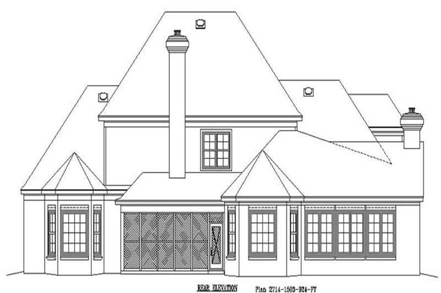 Home Plan Rear Elevation of this 4-Bedroom,4182 Sq Ft Plan -170-1929