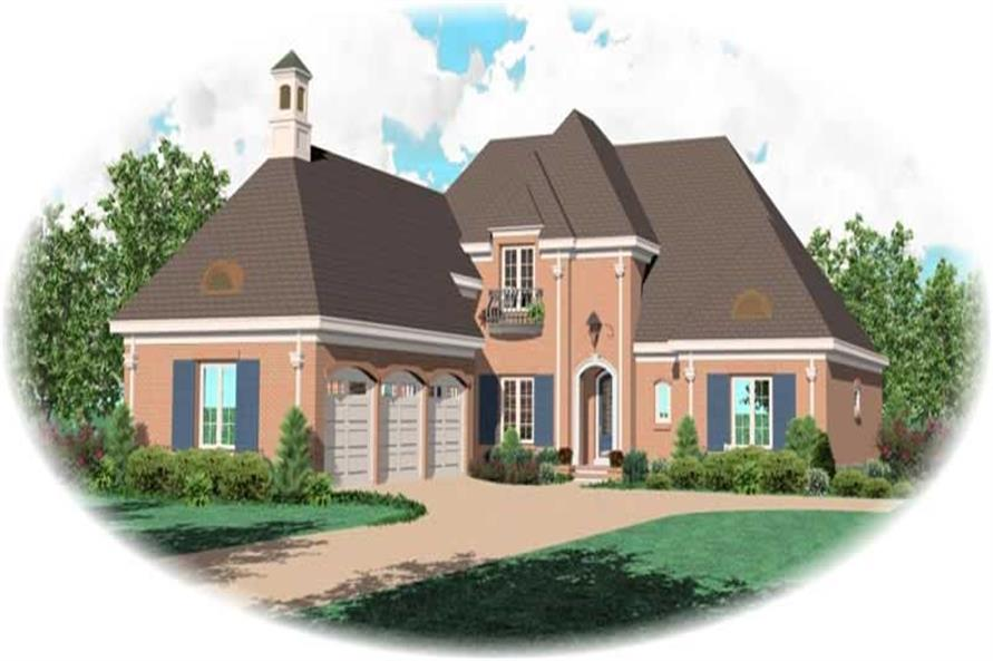 4-Bedroom, 4209 Sq Ft French House Plan - 170-1957 - Front Exterior