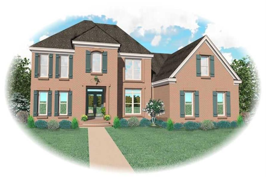 4-Bedroom, 3251 Sq Ft French Home Plan - 170-1977 - Main Exterior
