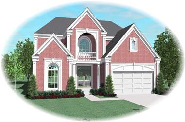 3-Bedroom, 4243 Sq Ft French House Plan - 170-1988 - Front Exterior