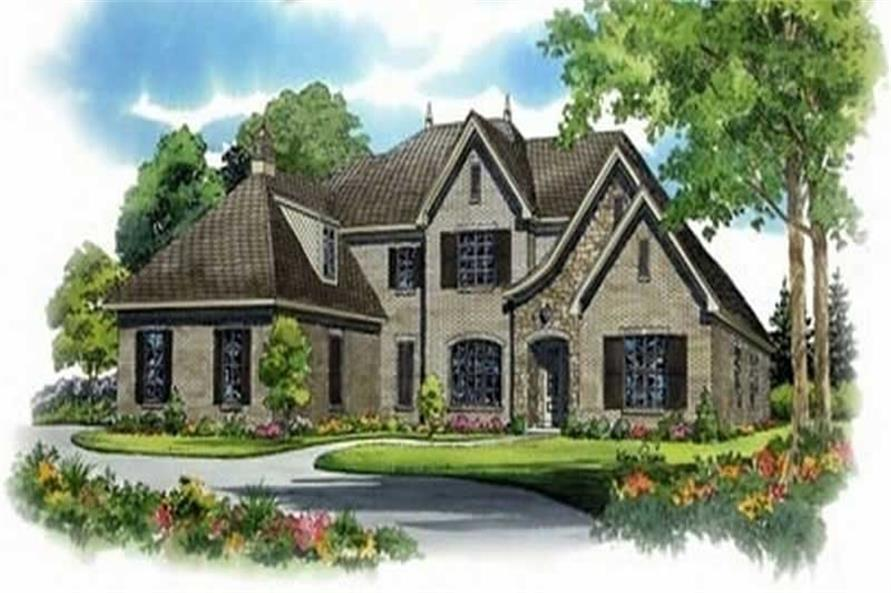4-Bedroom, 4871 Sq Ft French Home Plan - 170-1990 - Main Exterior