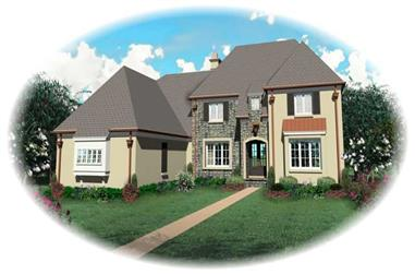 4-Bedroom, 4486 Sq Ft French Home Plan - 170-2050 - Main Exterior