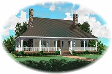1-Bedroom, 3400 Sq Ft Country Home Plan - 170-2101 - Main Exterior