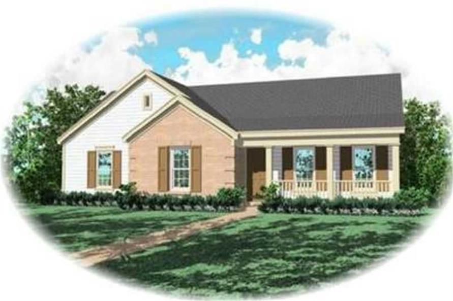 3-Bedroom, 1281 Sq Ft Country House Plan - 170-2128 - Front Exterior