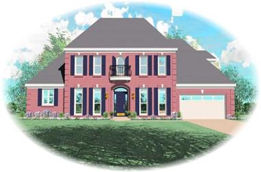 3-Bedroom, 3668 Sq Ft French Home Plan - 170-2136 - Main Exterior