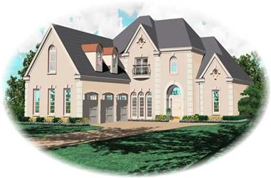 4-Bedroom, 4207 Sq Ft French Home Plan - 170-2182 - Main Exterior