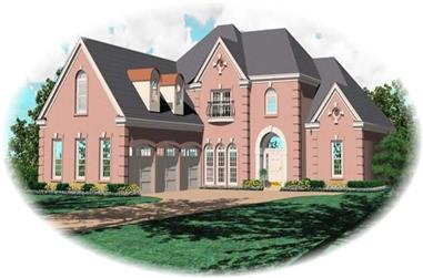 3-Bedroom, 4892 Sq Ft French Home Plan - 170-2188 - Main Exterior