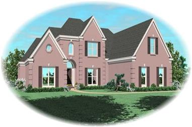 4-Bedroom, 3764 Sq Ft French Home Plan - 170-2192 - Main Exterior