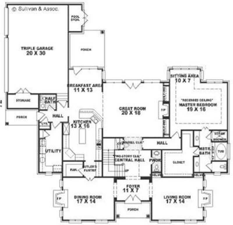 Luxury Colonial Southern House Plans Home Design 170 2215