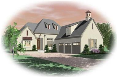 3-Bedroom, 3089 Sq Ft French House Plan - 170-2224 - Front Exterior