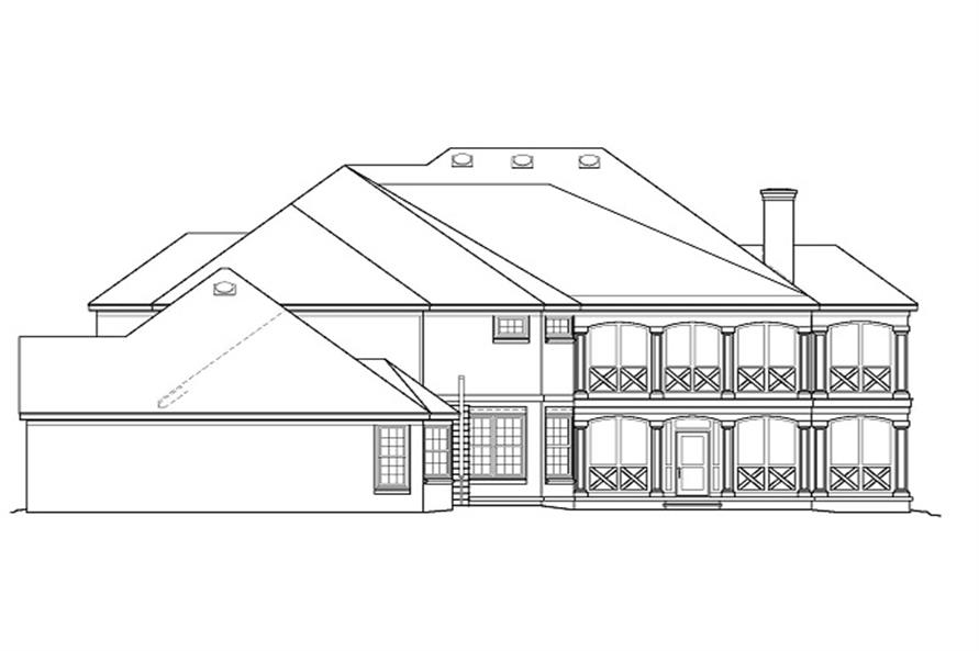 Home Plan Rear Elevation of this 5-Bedroom,4169 Sq Ft Plan -170-2459