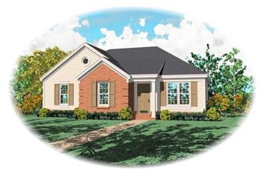 Front elevation of Small House Plans home (ThePlanCollection: House Plan #170-2702)
